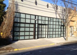 Frosted Glass & Aluminum Storefront Overhead Door in Cedarhurst, New York