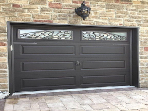 brown wrought iron garage door