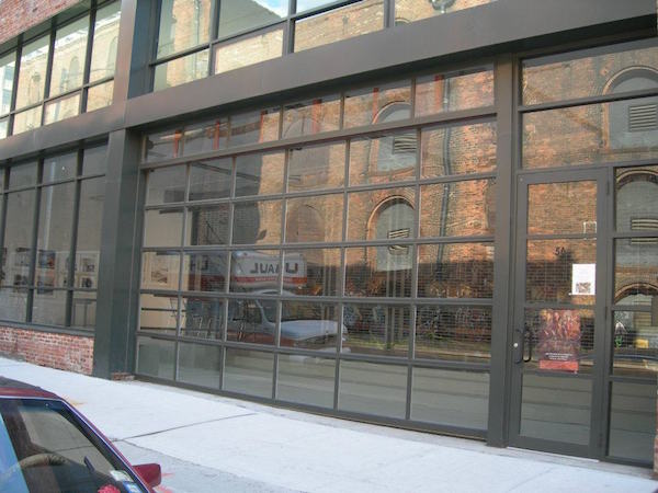Large overhead glass commercial door