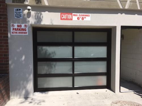 Tempered glass garage door